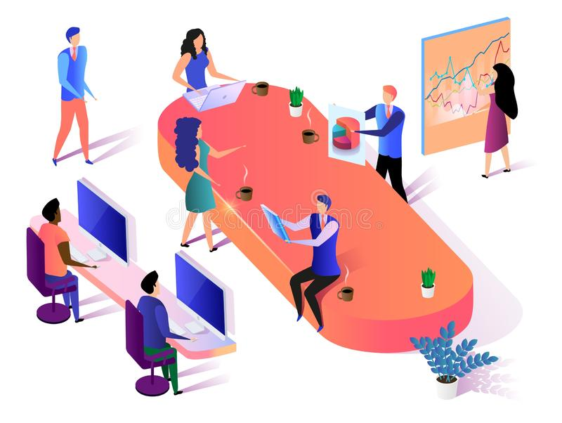 Business Group Team Working on White Background. vector illustration