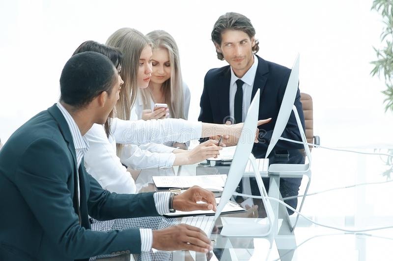 Business group is working with a new project stock photo