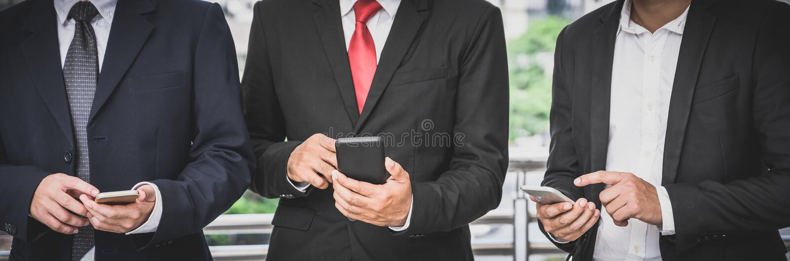 Business groups are using mobile phones to make business contacts, trade, communications, stocks, finance, technology royalty free stock images