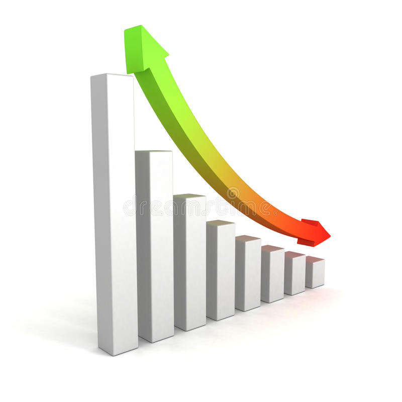 Business growing bar chart with up down arrow royalty free illustration