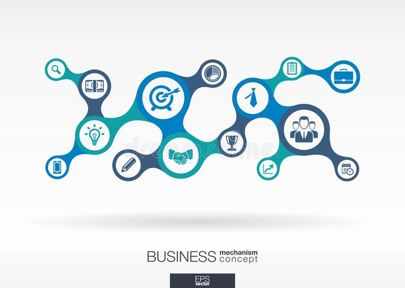 Business. Growth abstract background with connected metaball and integrated icons stock illustration