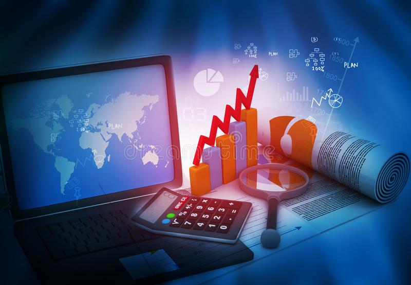 Business growth analysing. With laptop stock illustration