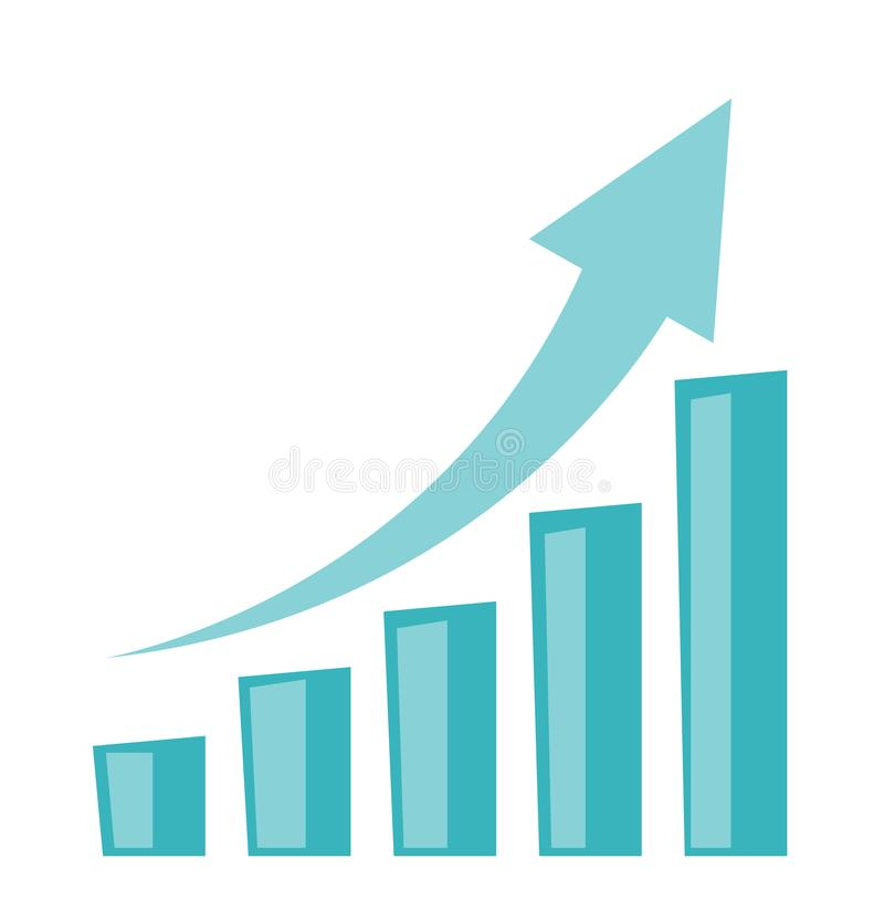 Free Business Growth Bar Chart With Arrow Going Up. Royalty Free Stock Image - 103334966