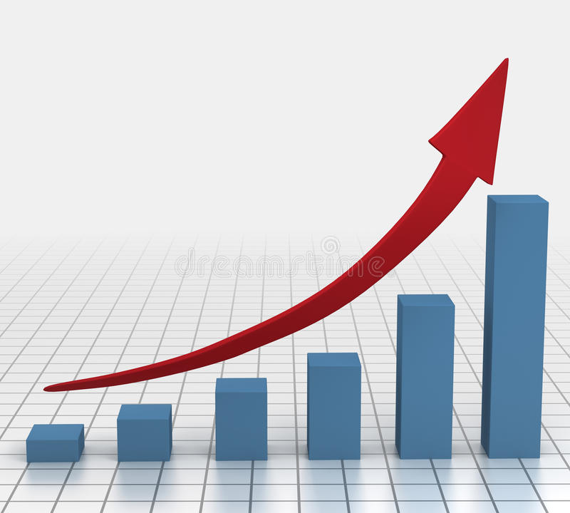 Business Growth Chart. Left to right Sideways illustrating steady growth chart stock illustration