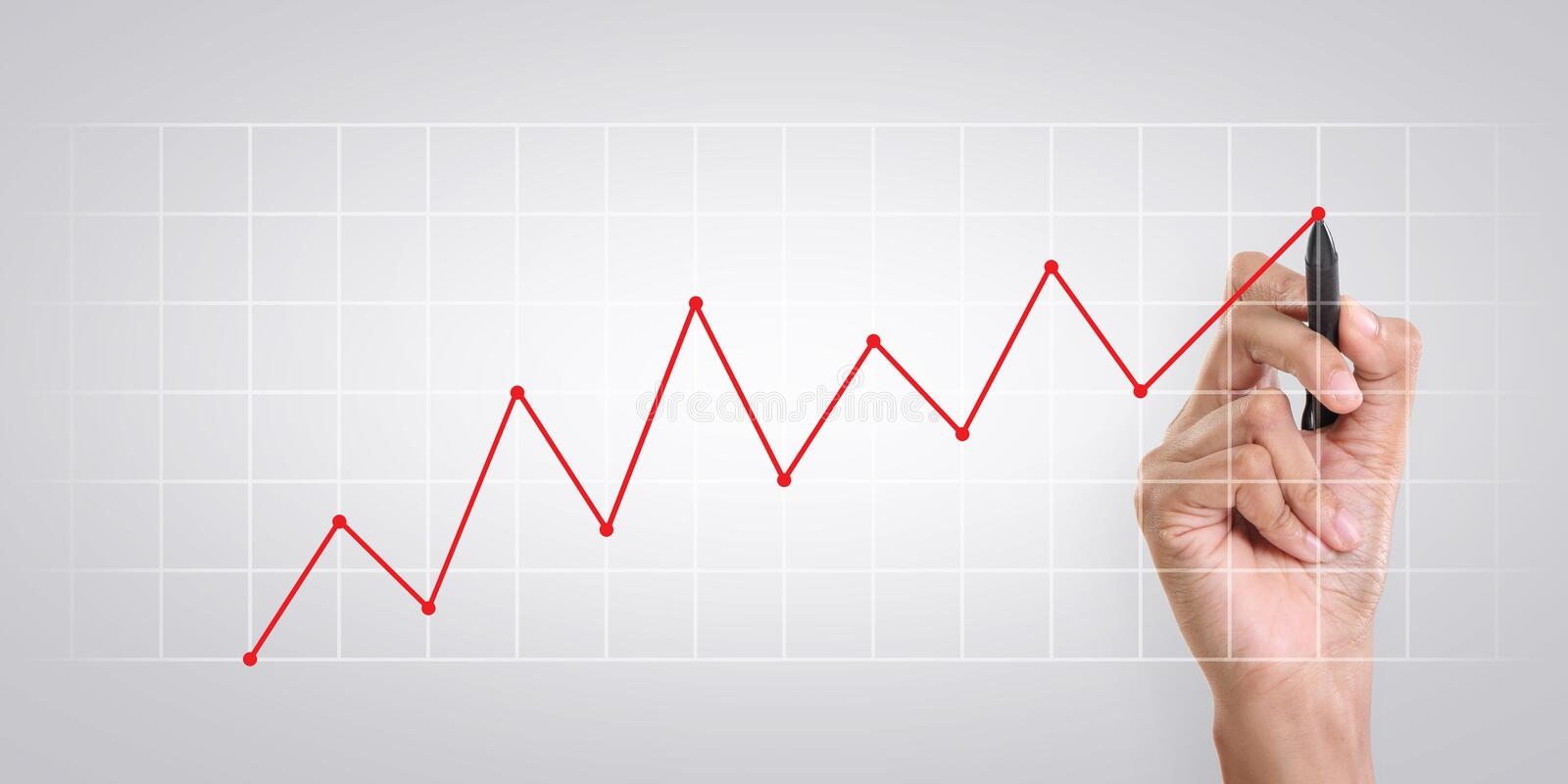 Business growth chart stock photo