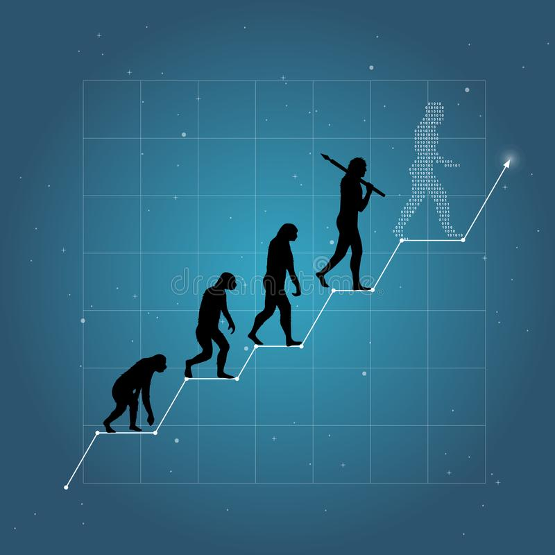 Business growth chart with human evolution. Blue gradient background with lines stock illustration
