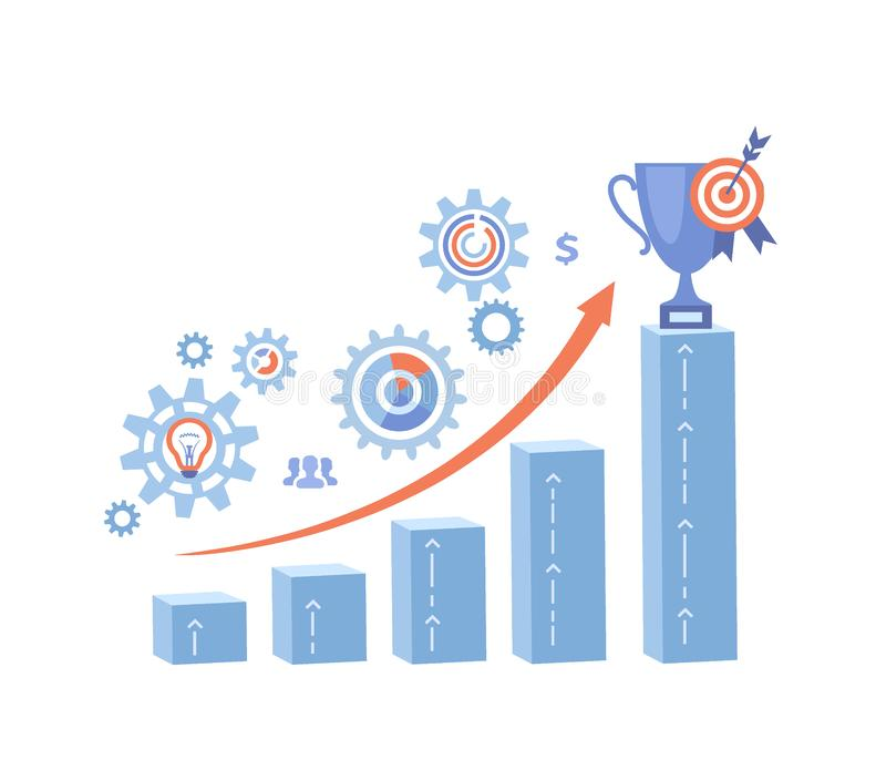 Business growth Financial success Planning Working Management Marketing Perspective. Growth steps, arrow, graphs, charts, winner`s. Cup, target. Vector vector illustration