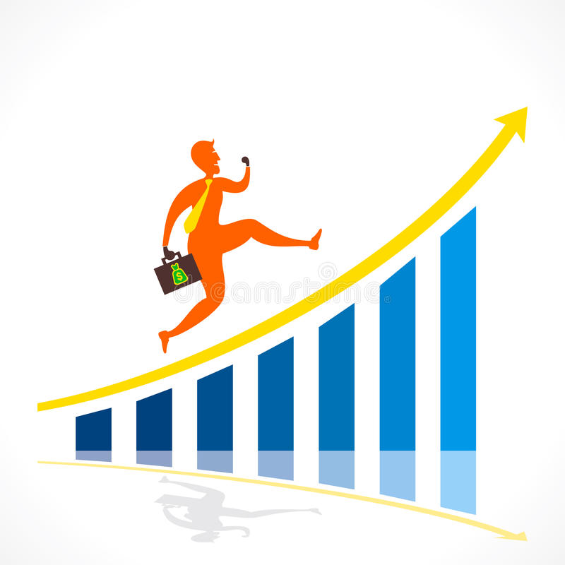 Business growth graph design concept vector illustration