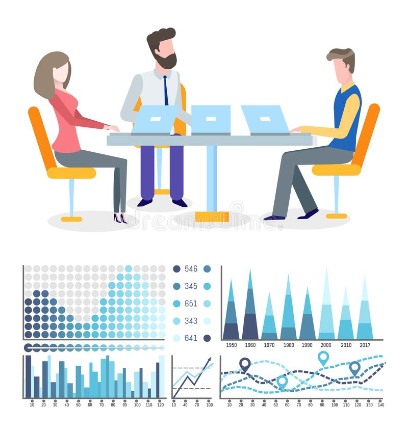 Business Growth Graphics and Flowcharts, Teamwork. Graphics and flowcharts, business growth and teamwork vector. Woman and men at round table with laptops stock illustration