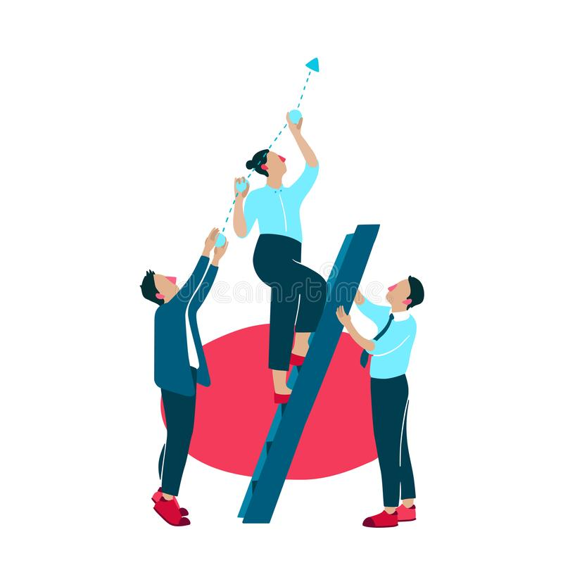 Business growth improvement vector illustration. Company people or managers on ladder apply efforts for company success development and promotion holding or royalty free illustration