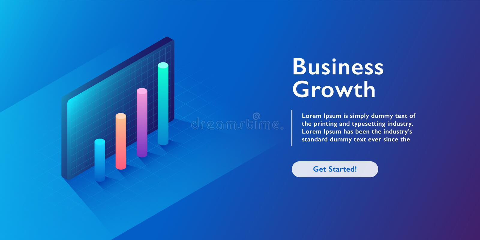 Business growth isometric vector illustration. Abstract businessman with laptop background. Financial increase or stock exchange w vector illustration