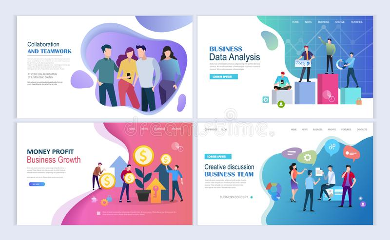 Business growth landing pages template royalty free illustration