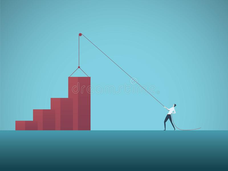 Business growth objective vector concept with businessman pulling graph up on pulley. Symbol of success, achievement. Challenge, strategy, goals, targets and vector illustration