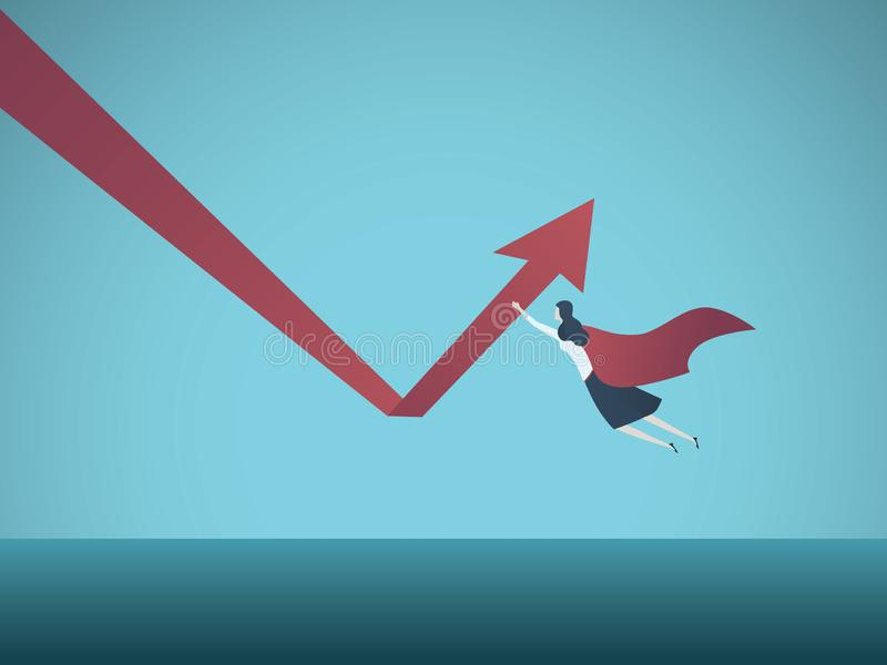 Business growth and recovery vector concept. Businesswoman superhero flying and pushing arrow up. Symbol of success. Power, leadership, skill and motivation royalty free illustration