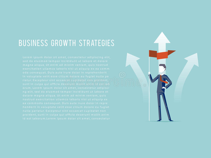 Business Growth Strategies oncept Businessman Hold Flag Character Achievement Top Point Goal Symbol Mountain clouds royalty free illustration