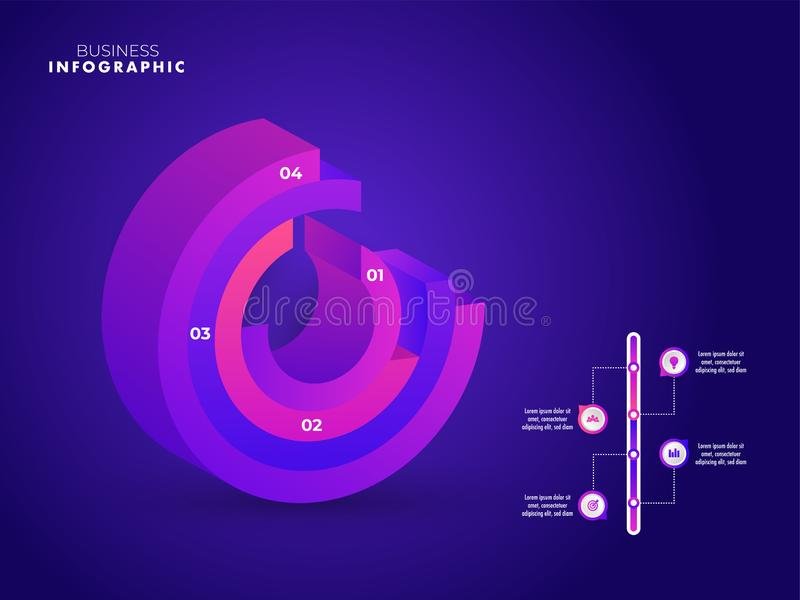 Business growth or success infographic 3D element template design with step number on purple background. Business growth or success infographic 3D element vector illustration