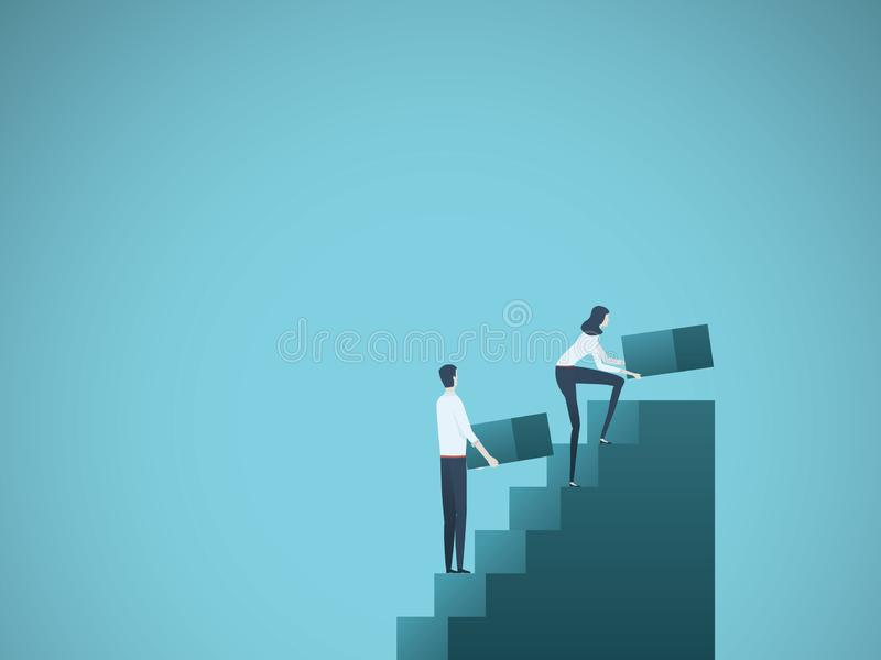 Business growth vector concept with businessman and businesswoman building steps as team. Symbol of success, achievement. Ambition, motivation and teamwork vector illustration