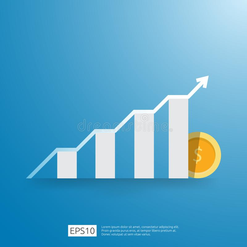 business growup chart bar with arrow direction. Finance growth vision stretching rising up. Return on investment ROI. increase royalty free illustration