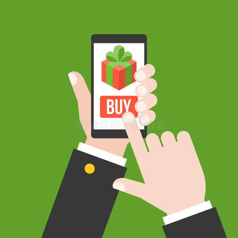 Business hand buy gift from smartphone or cellphone vector illustration