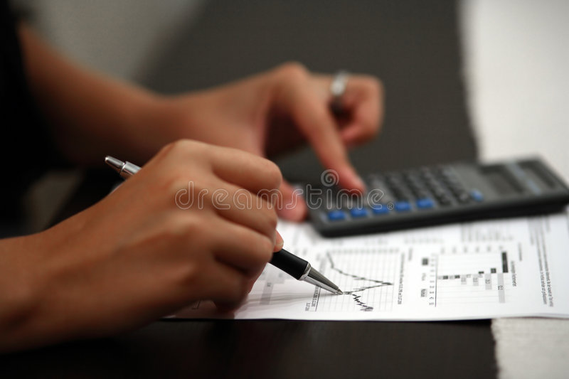 Business Hand Calculator Pen royalty free stock image