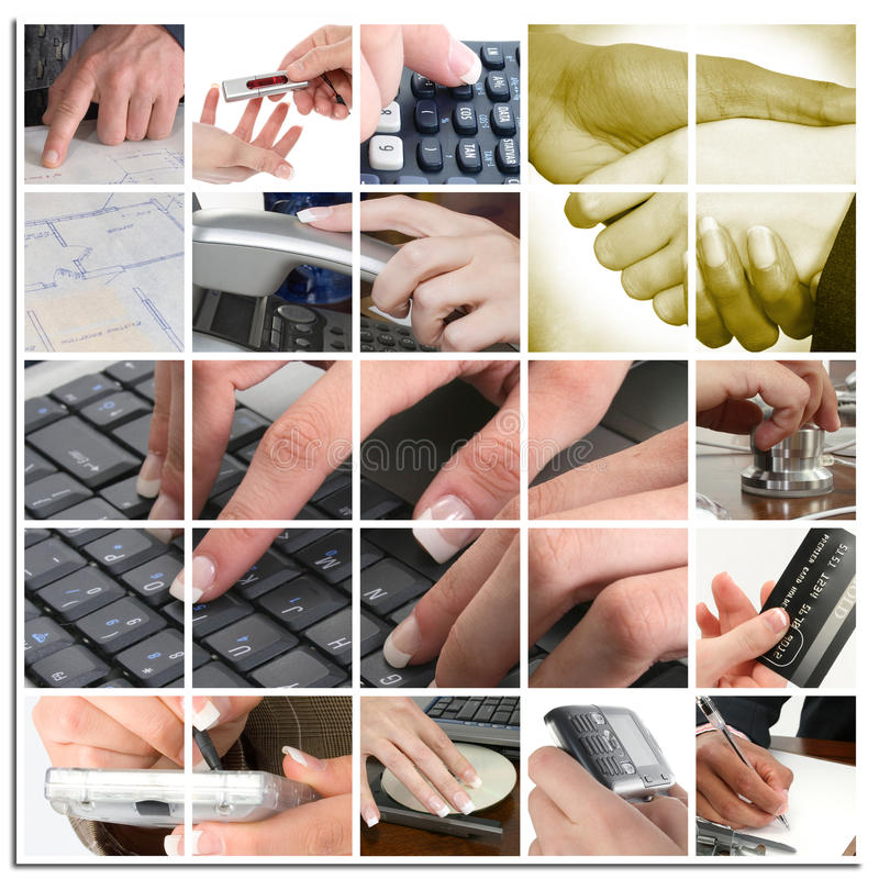 Business Hand Collage. Various hands with technology and other business themes in collage stock image