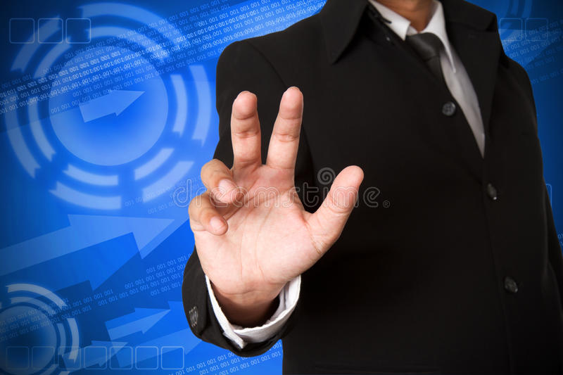 Business hand. On digital background royalty free stock photography
