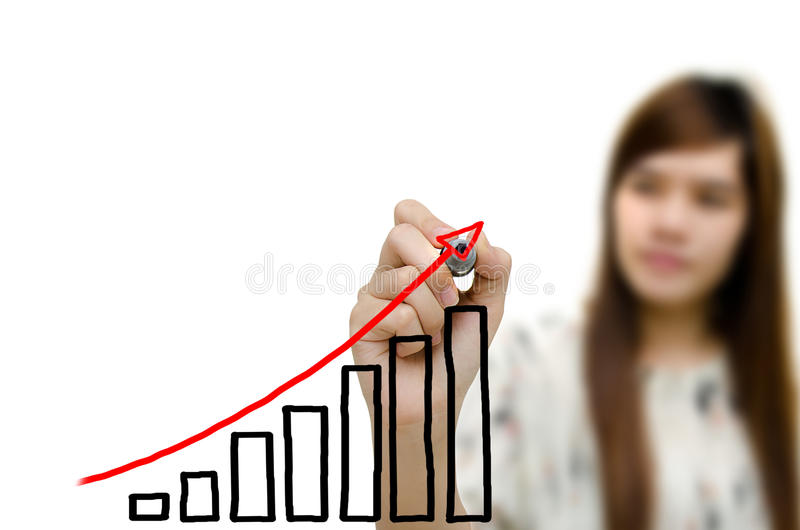 Business hand drawing showing graph royalty free stock images