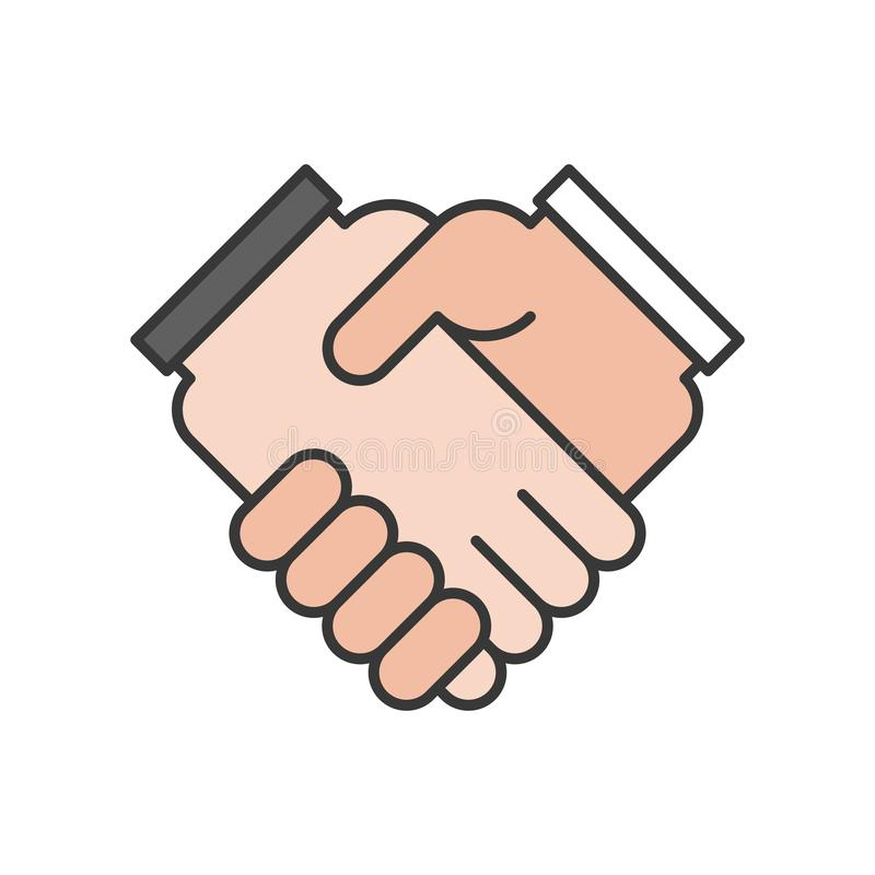 business hand or handshake icon, deal and meeting concept, editable stroke outline vector illustration