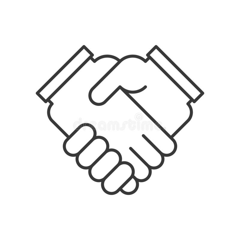 business hand or handshake icon, deal and meeting concept, editable stroke outline royalty free illustration