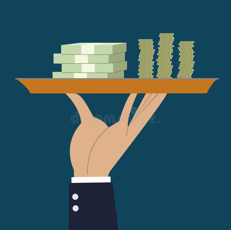 Business hand hold tray with money stack vector illustration