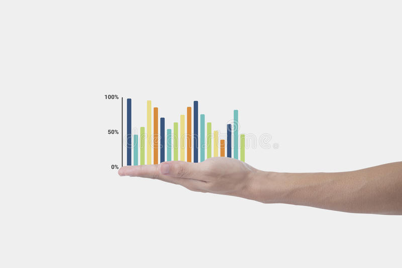 Business hand holding business graph. concept presentation. Finance growing stock image