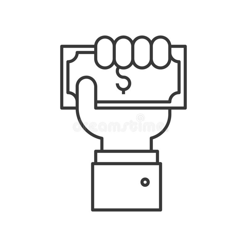 Business hand holding dollar bill, payment or crowd funding icon royalty free illustration