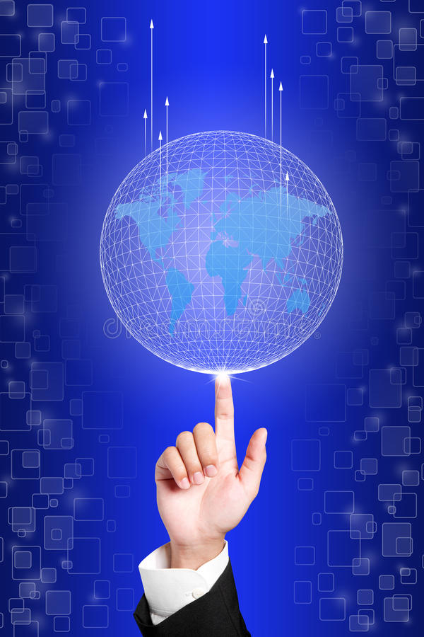 Download Business Hand Holding Globe To The Top Of Goal Stock Image - Image: 25499617