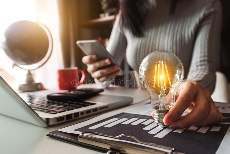 Idea saving energy and accounting finance concept royalty free stock photo