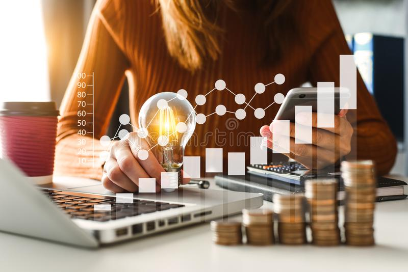 Idea saving energy and accounting finance concept stock images