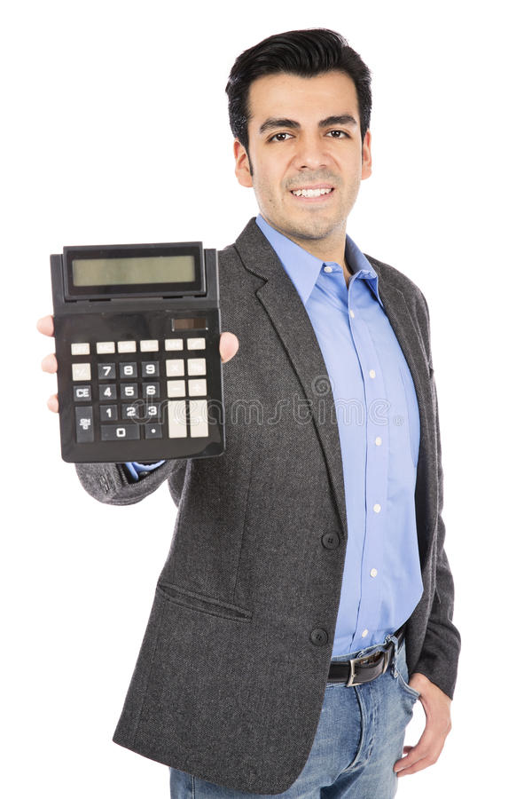Business hand holding out a calculator. stock images
