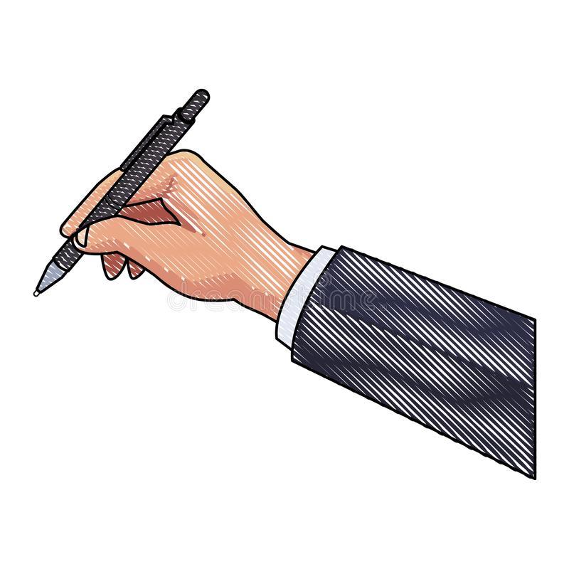 Business hand holding pen scribble vector illustration