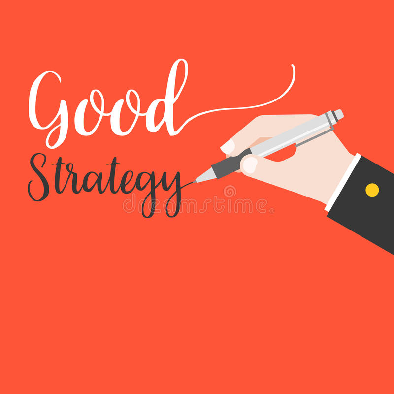 Business hand holding pen writing words good strategy hand lettering on red background stock illustration