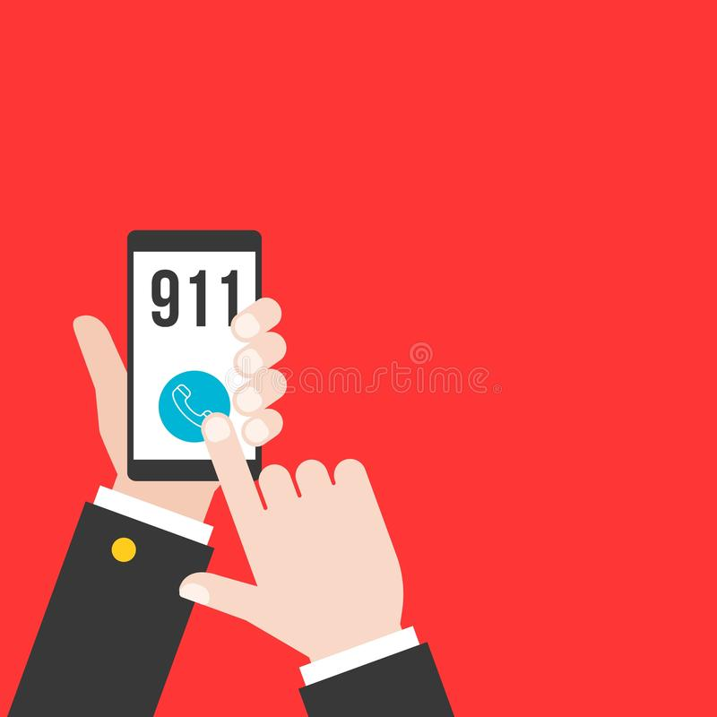 business hand holding smart phone calling police 911 from application, flat design stock illustration