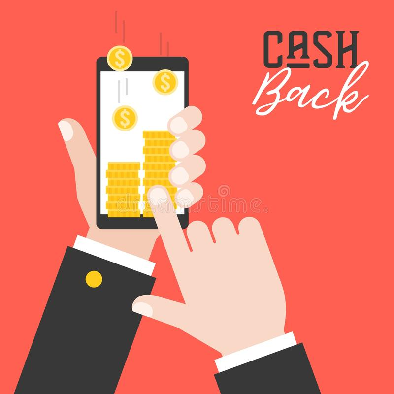 Business hand holding smart phone and get cash back from application, flat design business concept for use in advertise of poster. Or banner vector illustration