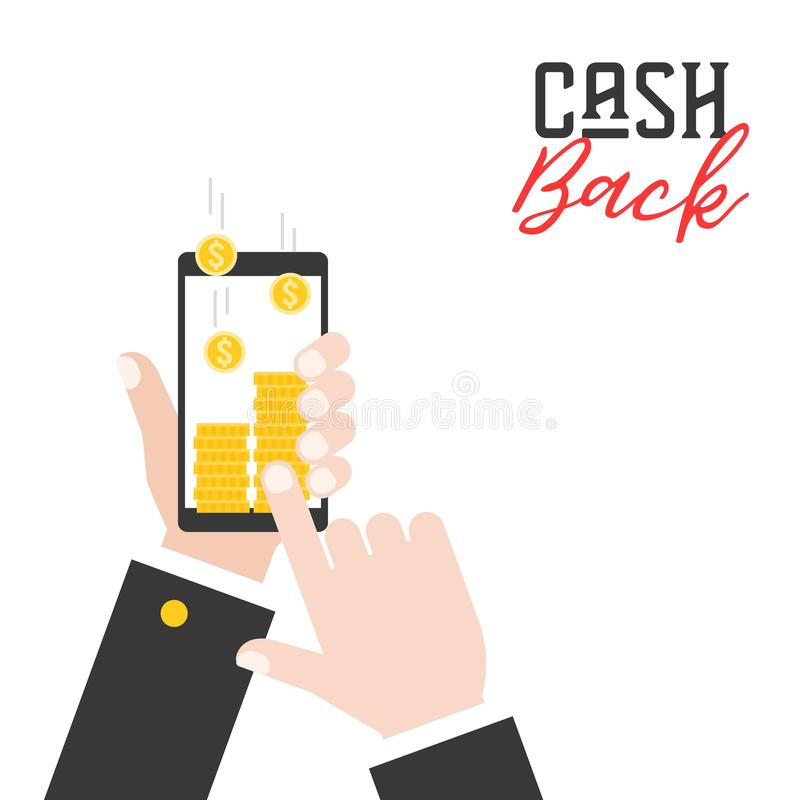 business hand holding smart phone and get cash back from application, flat design business concept for use in advertise of poster stock illustration