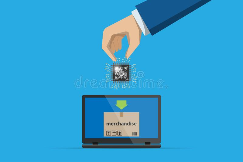 Business hand insert qr code chip processor into laptop with merchandise, technology and business concept royalty free stock image