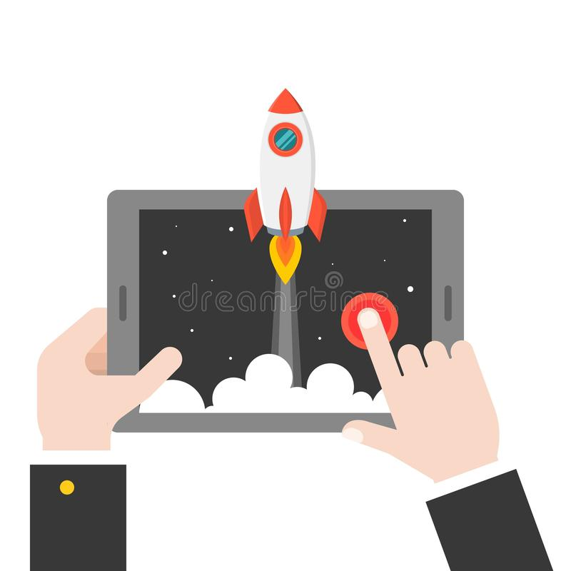 Business hand launching rocket from tablet or smart phone, start stock illustration