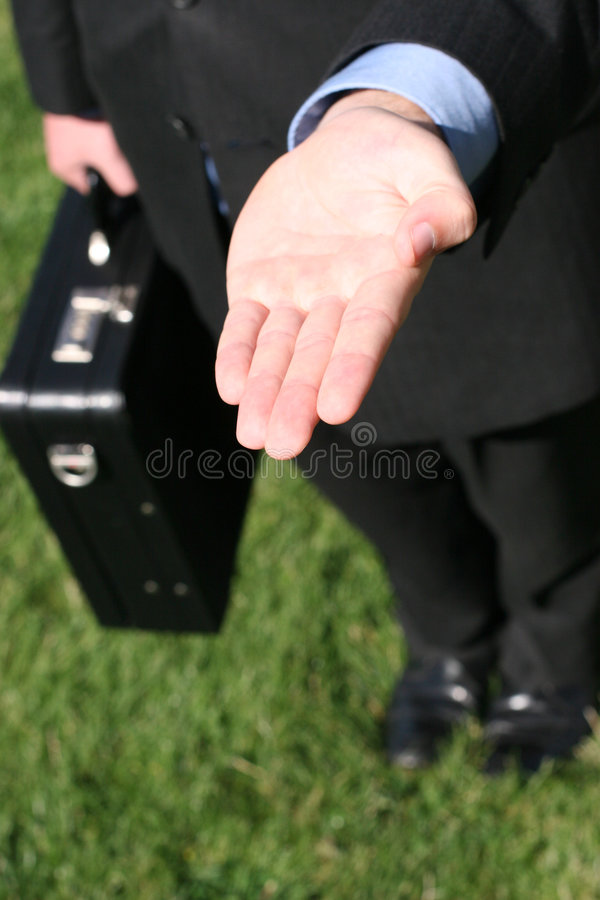 Business hand out royalty free stock photo