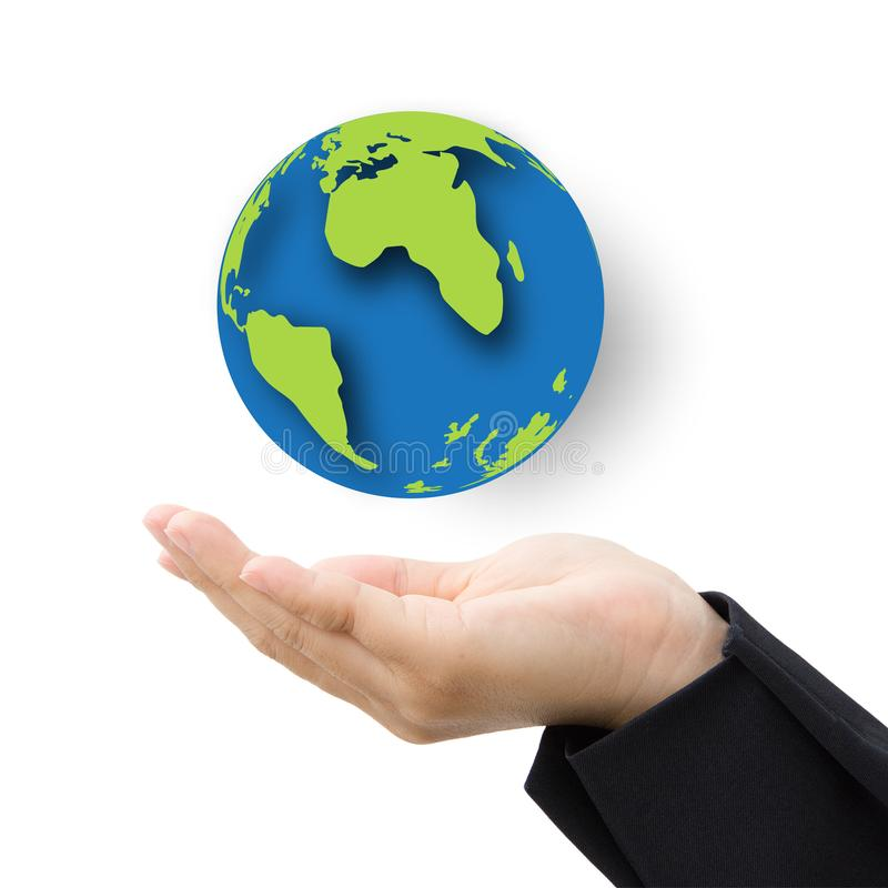 Business hand with paper globe stock photo