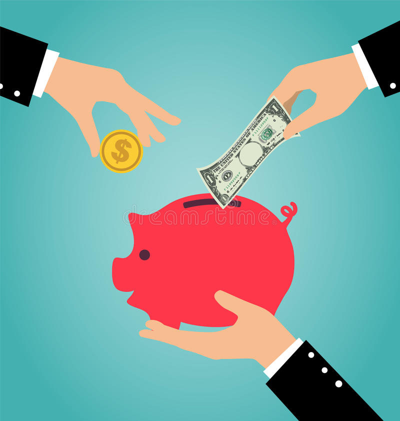 Business hand putting coin and money into a piggy bank. Saving and investing money concept vector illustration