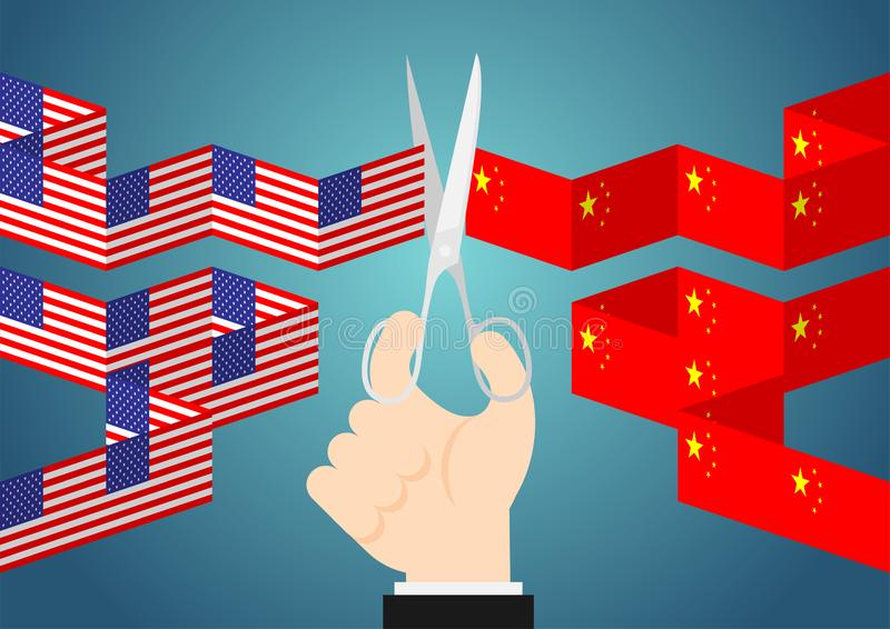 Business Hand with scissors cut flag paper chain of America and China, Trade war and tax crisis concept design illustration. Isolated on blue gradients stock illustration