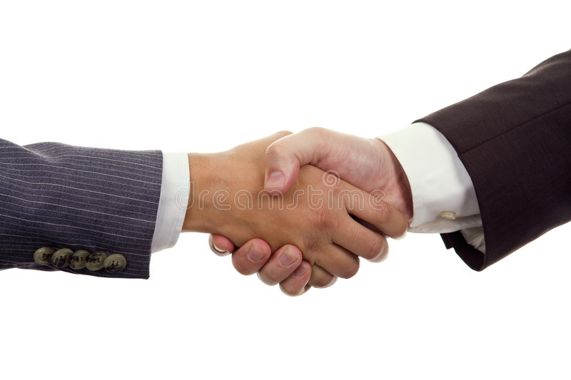 Business Hand shaking. On a white background royalty free stock photos