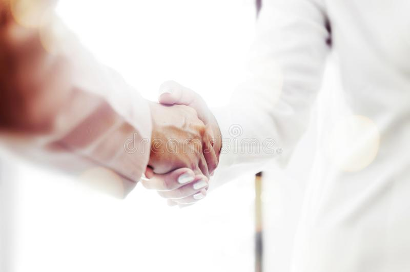 Business hand shaking at meeting in office. Business hand shaking at meeting in office royalty free stock photography