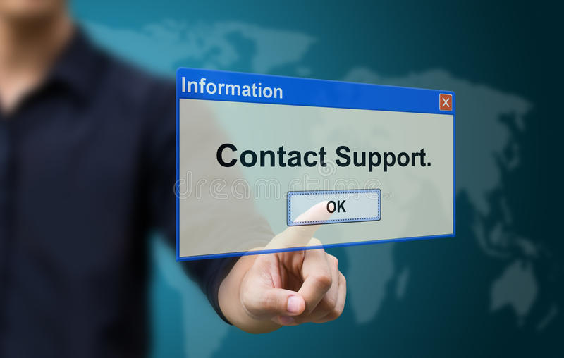 Business hand touch contact support. Business hand touch to contact support stock images